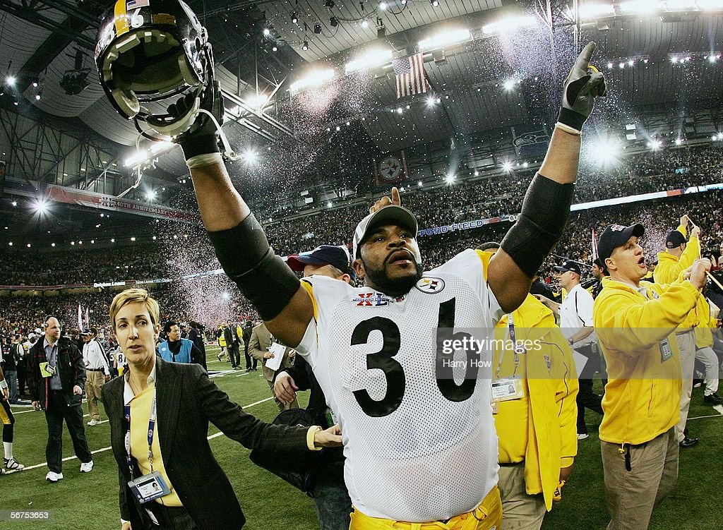 Running back Jerome Bettis #36 of the Pittsburgh Steelers celebrates on the field after defeating the Seattle Seahawks in Super Bowl XL at Ford Field on February 5, 2006 in Detroit, Michigan. Bettis announced his retirement after the Steelers defeated the Seahawks 21-10.