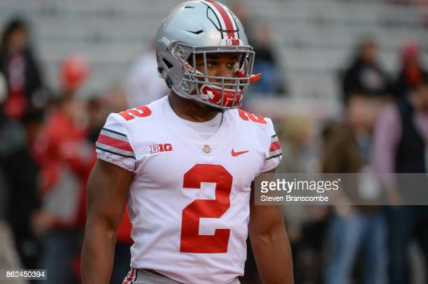 Running back JK Dobbins of the Ohio State Buckeyes warms up before the game against the Nebraska Cornhuskers at Memorial Stadium on October 14 2017...