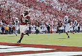 Running back Joe Mixon of the Oklahoma Sooners slows down into the end zone /West Virginia Mountaineers October 3 2015 at Gaylord FamilyOklahoma...