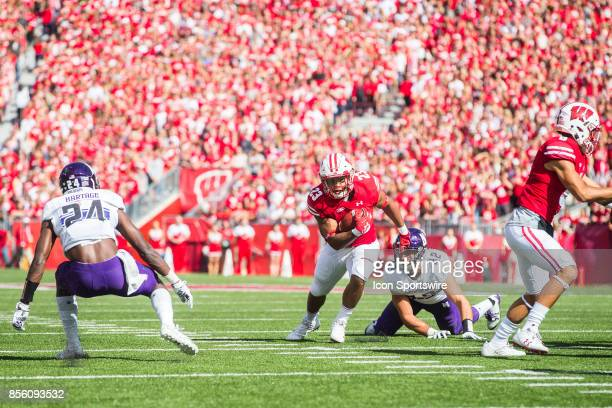 UW running back Jonathan Taylor can't quit make the end zone on this play as Northwestern Linebacker Paddy Fisher looks on during the Big Ten...