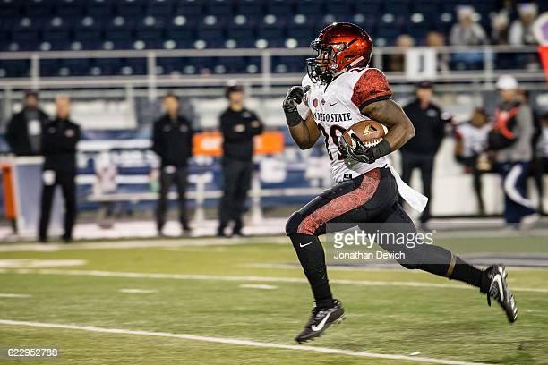 Running back Juwan Washington runs for a touchdown against Nevada at Mackay Stadium on November 12 2016 in Reno Nevada