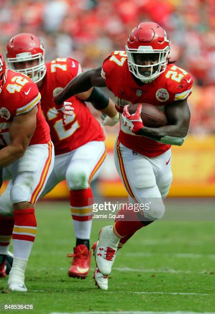 Running back Kareem Hunt of the Kansas City Chiefs carries the ball during the game against the Philadelphia Eagles at Arrowhead Stadium on September...