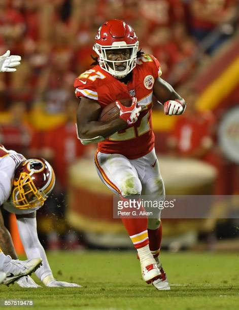 Running back Kareem Hunt of the Kansas City Chiefs rushes down field against the Washington Redskins during the second half on October 2 2017 at...