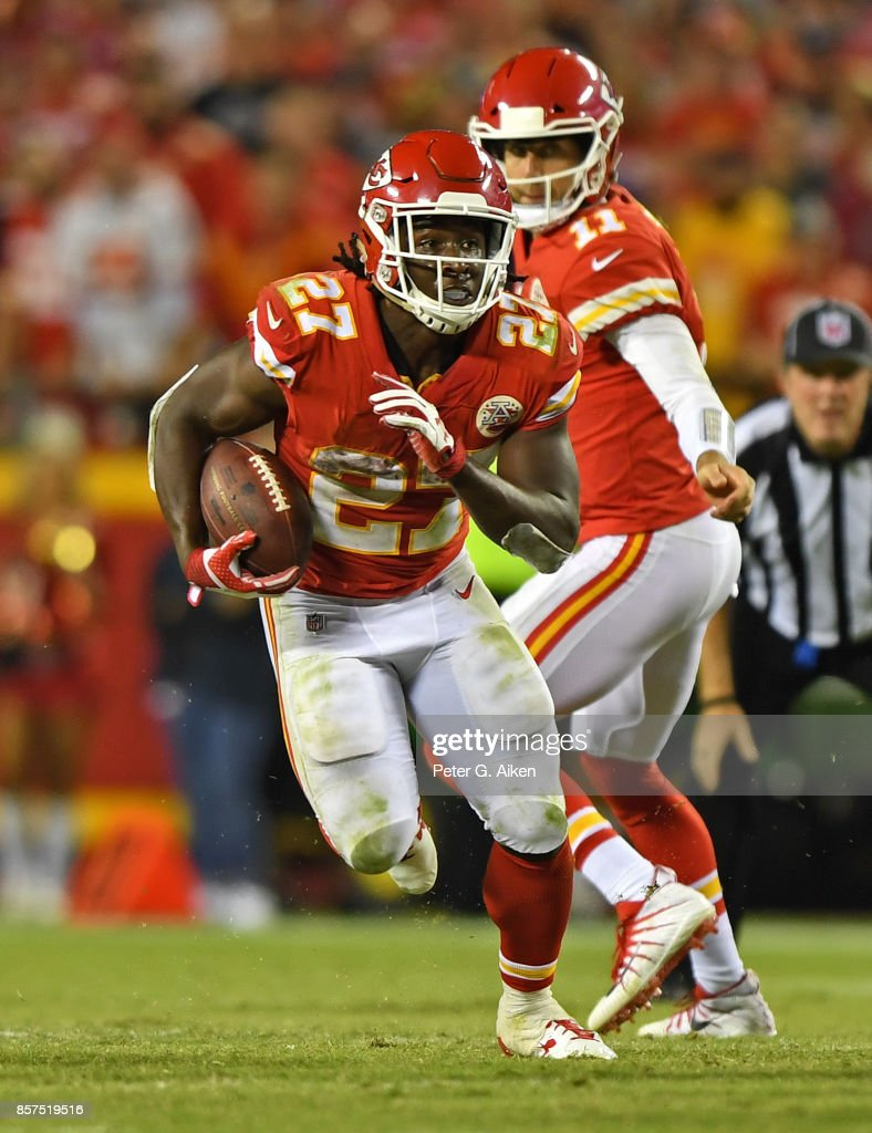 Running back Kareem Hunt #27 of the Kansas City Chiefs rushes down field against the Washington Redskins during the second half on October 2, 2017 at Arrowhead Stadium in Kansas City, Missouri.