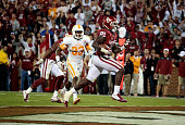 Running back Keith Ford of the Oklahoma Sooners scores during the game against the Tennessee Volunteers September 13 2014 at Gaylord FamilyOklahoma...
