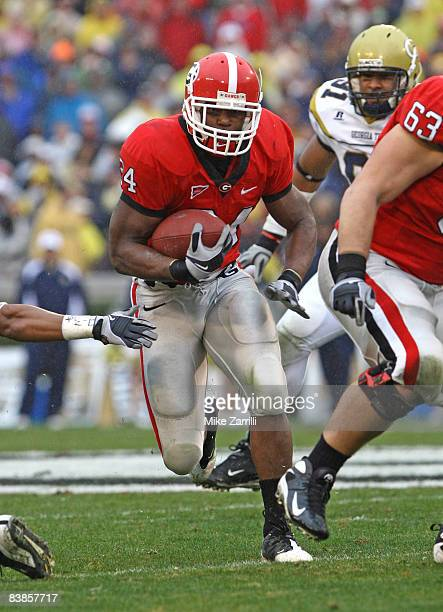 Running back Knowshon Moreno of the Georgia Bulldogs ran for 97 yards and a touchdown during the game against the Georgia Tech Yellow Jackets during...