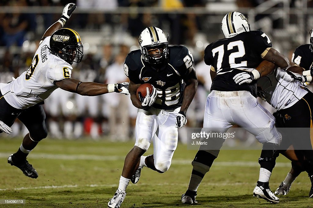 Running back Latavius Murray #28 of the Central Florida Knights scores a touchdown in the first overtime against the Southern Mississippi Golden Eagles during the game at Bright House Networks Stadium on October 13, 2012 in Orlando, Florida.
