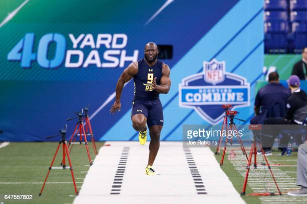 Running back Leonard Fournette of LSU runs the 40yard dash during the NFL Combine at Lucas Oil Stadium on March 3 2017 in Indianapolis Indiana