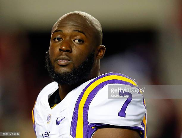 Running back Leonard Fournette of the LSU Tigers looks on during warmups before the game against the Alabama Crimson Tide at BryantDenny Stadium on...