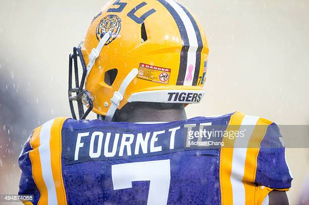 Running back Leonard Fournette of the LSU Tigers prior to their game against the Western Kentucky Hilltoppers on October 24 2015 at Tiger Stadium in...