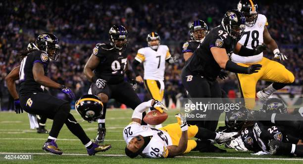Running back Le'Veon Bell of the Pittsburgh Steelers is stopped short of the goal line during the fourth quarter of the Steelers 2220 loss to the...