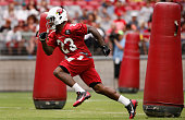 Running back Marion Grice of the Arizona Cardinals in action during the team training camp at University of Phoenix Stadium on August 2 2015 in...