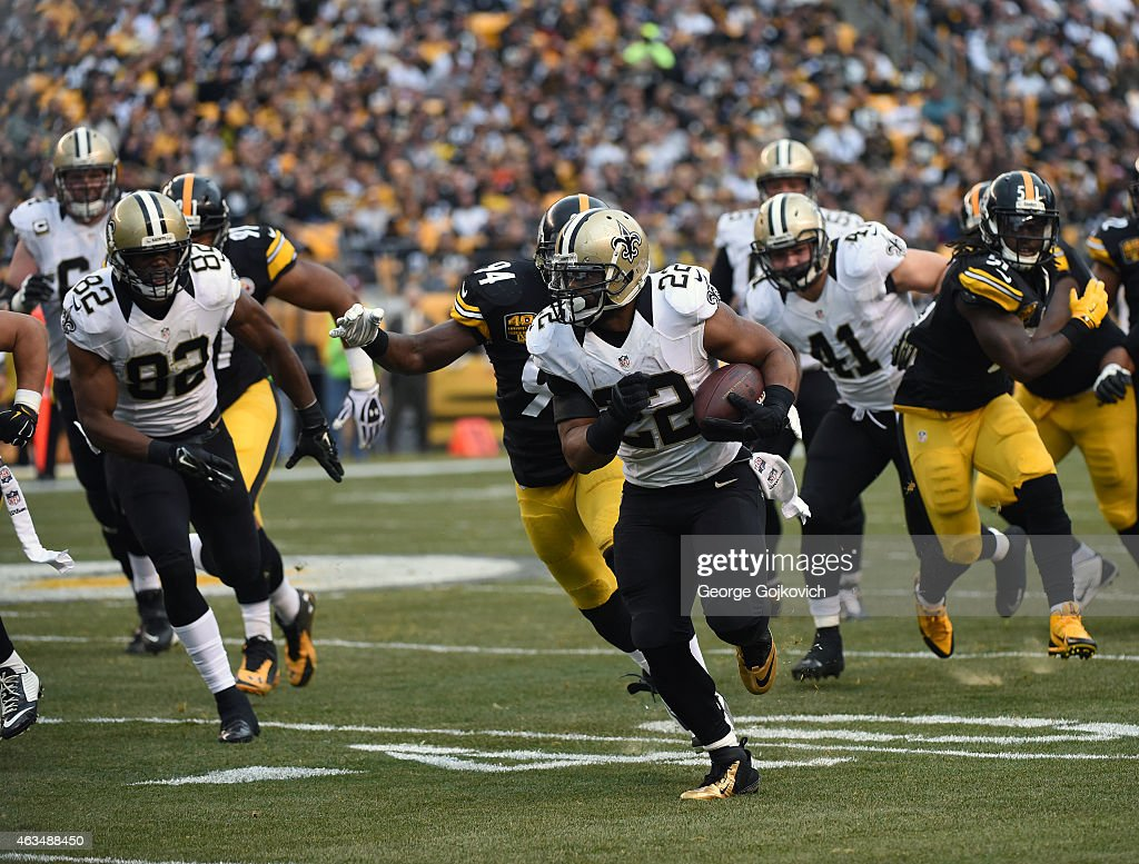 Running back <a gi-track='captionPersonalityLinkClicked' href=/galleries/search?phrase=Mark+Ingram&family=editorial&specificpeople=578256 ng-click='$event.stopPropagation()'>Mark Ingram</a> #22 of the New Orleans Saints runs with the football as he is pursued by linebackers <a gi-track='captionPersonalityLinkClicked' href=/galleries/search?phrase=Lawrence+Timmons&family=editorial&specificpeople=2138080 ng-click='$event.stopPropagation()'>Lawrence Timmons</a> #94 and <a gi-track='captionPersonalityLinkClicked' href=/galleries/search?phrase=Sean+Spence&family=editorial&specificpeople=5519228 ng-click='$event.stopPropagation()'>Sean Spence</a> #51 of the Pittsburgh Steelers as fullback <a gi-track='captionPersonalityLinkClicked' href=/galleries/search?phrase=Erik+Lorig&family=editorial&specificpeople=5534718 ng-click='$event.stopPropagation()'>Erik Lorig</a> #41 and tight end <a gi-track='captionPersonalityLinkClicked' href=/galleries/search?phrase=Benjamin+Watson+-+American+Football+Player&family=editorial&specificpeople=15154817 ng-click='$event.stopPropagation()'>Benjamin Watson</a> #82 block during a game at Heinz Field on November 30, 2014 in Pittsburgh, Pennsylvania. The Saints defeated the Steelers 35-32.