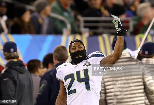 Running back Marshawn Lynch of the Seattle Seahawks gestures during Super Bowl XLVIII against the Denver Broncos at MetLife Stadium on February 2...