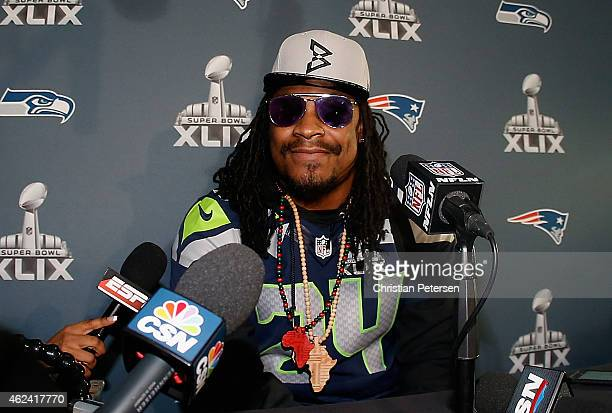 Running back Marshawn Lynch of the Seattle Seahawks speaks during a Super Bowl XLIX media availability at the Arizona Grand Hotel on January 28 2015...