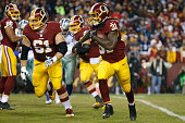 Running back Matt Jones of the Washington Redskins carries the ball against the Dallas Cowboys in the second quarter at FedExField on December 7 2015...
