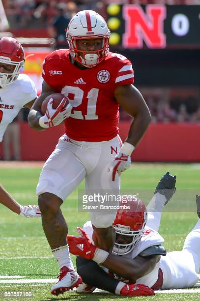 Running back Mikale Wilbon of the Nebraska Cornhuskers runs against the Rutgers Scarlet Knights at Memorial Stadium on September 23 2017 in Lincoln...