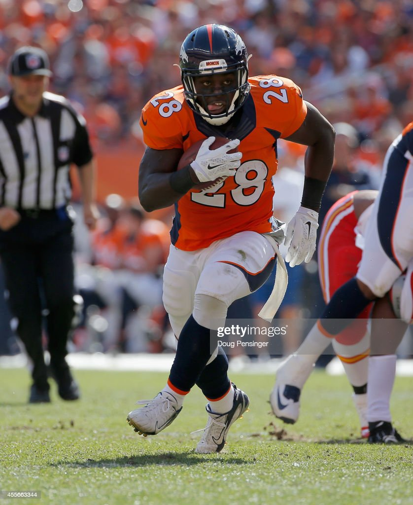Running back Montee Ball #28 of the Denver Broncos carries the ball against the Kansas City Chiefs at Sports Authority Field at Mile High on September 14, 2014 in Denver, Colorado. The Broncos defeated the Chiefs 24-17.