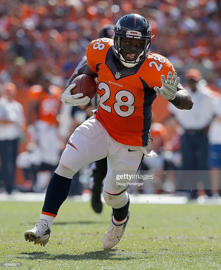 Running back <a gi-track='captionPersonalityLinkClicked' href=/galleries/search?phrase=Montee+Ball&family=editorial&specificpeople=6475135 ng-click='$event.stopPropagation()'>Montee Ball</a> #28 of the Denver Broncos carries the ball against the Kansas City Chiefs at Sports Authority Field at Mile High on September 14, 2014 in Denver, Colorado. The Broncos defeated the Chiefs 24-17.