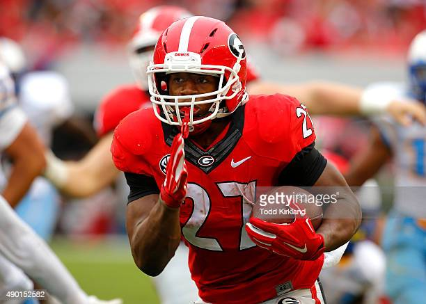 Running back Nick Chubb of the Georgia Bulldogs rushes in for a touchdown in the third quarter of the game against the Southern University Jaguars on...