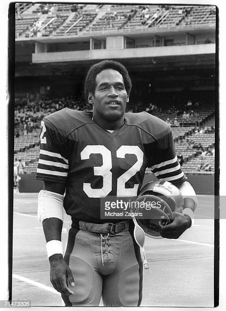 Running back OJ Simpson of the San Francisco 49ers stands on the field before a game in the 1978 season