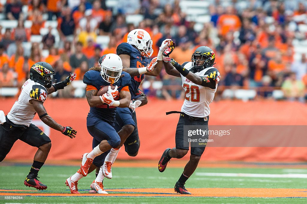 Running back Prince-Tyson Gulley #23 of the Syracuse Orange runs for a large gain at the end of second quarter setting up a failed red zone attack against Maryland Terrapins on September 20, 2014 at The Carrier Dome in Syracuse, New York.