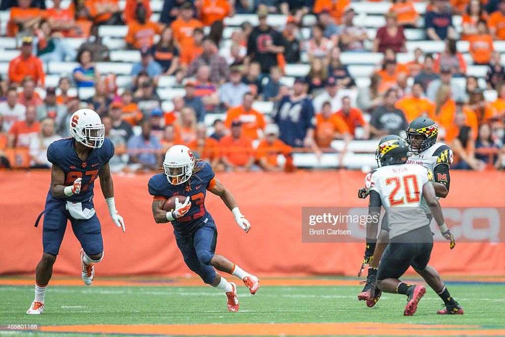 Running back Prince-Tyson Gulley #23 of the Syracuse Orange runs for a large gain during the second quarter against the Maryland Terrapins on September 20, 2014 at The Carrier Dome in Syracuse, New York. Maryland defeats Syracuse 34-20.