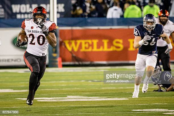 Running back Rashaad Perry of San Diego breaks free of the Nevada defense to run for a touchdown at Mackay Stadium on November 12 2016 in Reno Nevada