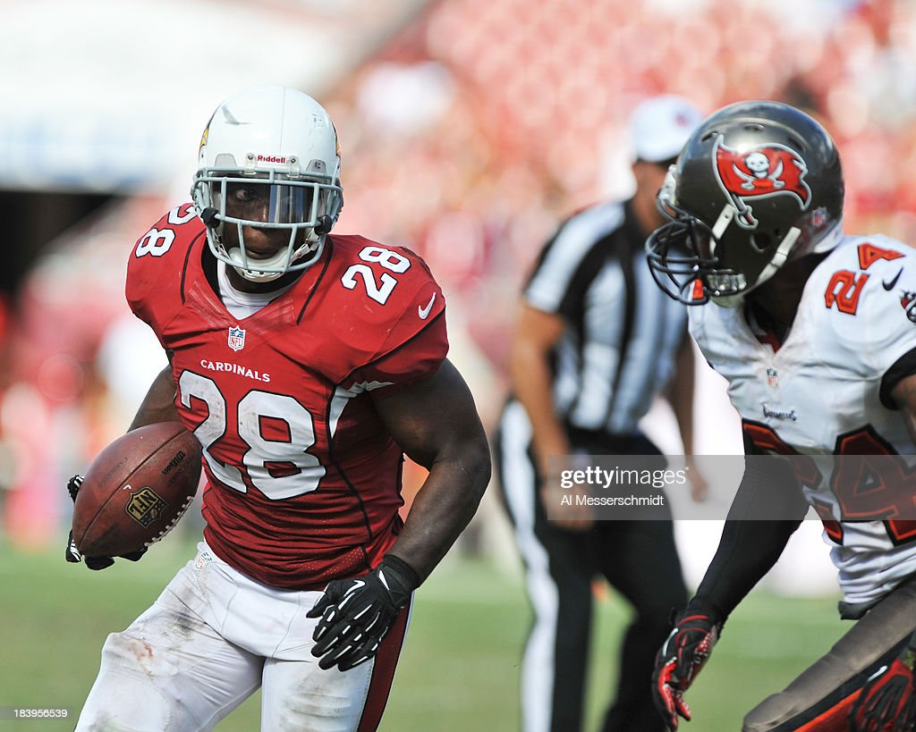 Running back <a gi-track='captionPersonalityLinkClicked' href=/galleries/search?phrase=Rashard+Mendenhall&family=editorial&specificpeople=2167325 ng-click='$event.stopPropagation()'>Rashard Mendenhall</a> #28 of the Arizona Cardinals rushes upfield against the Tampa Bay Buccaneers September 29, 2013 at Raymond James Stadium in Tampa, Florida. Arizona won 13 - 10.