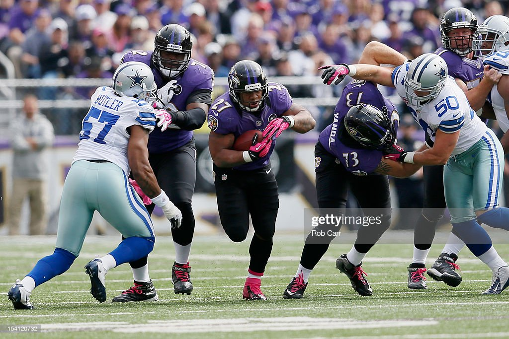 Running back <a gi-track='captionPersonalityLinkClicked' href=/galleries/search?phrase=Ray+Rice&family=editorial&specificpeople=3980395 ng-click='$event.stopPropagation()'>Ray Rice</a> #27 carries the ball against the Dallas Cowboys during the first half at M&T Bank Stadium on October 14, 2012 in Baltimore, Maryland.