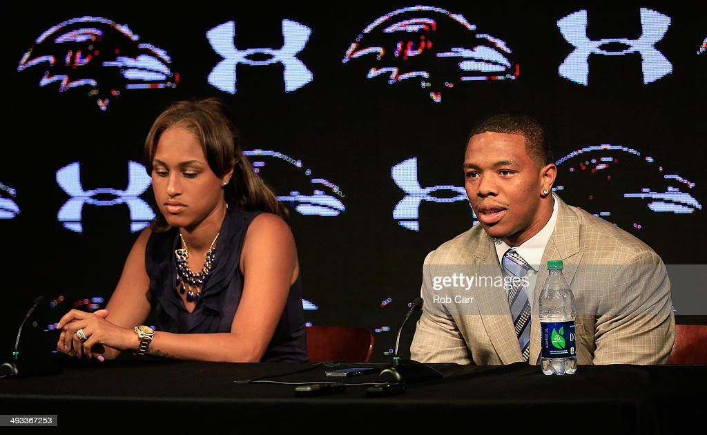 Running back <a gi-track='captionPersonalityLinkClicked' href=/galleries/search?phrase=Ray+Rice&family=editorial&specificpeople=3980395 ng-click='$event.stopPropagation()'>Ray Rice</a> of the Baltimore Ravens addresses a news conference with his wife Janay at the Ravens training center on May 23, 2014 in Owings Mills, Maryland. Rice spoke publicly for the first time since facing felony assault charges stemming from a February incident involving Janay at an Atlantic City casino.