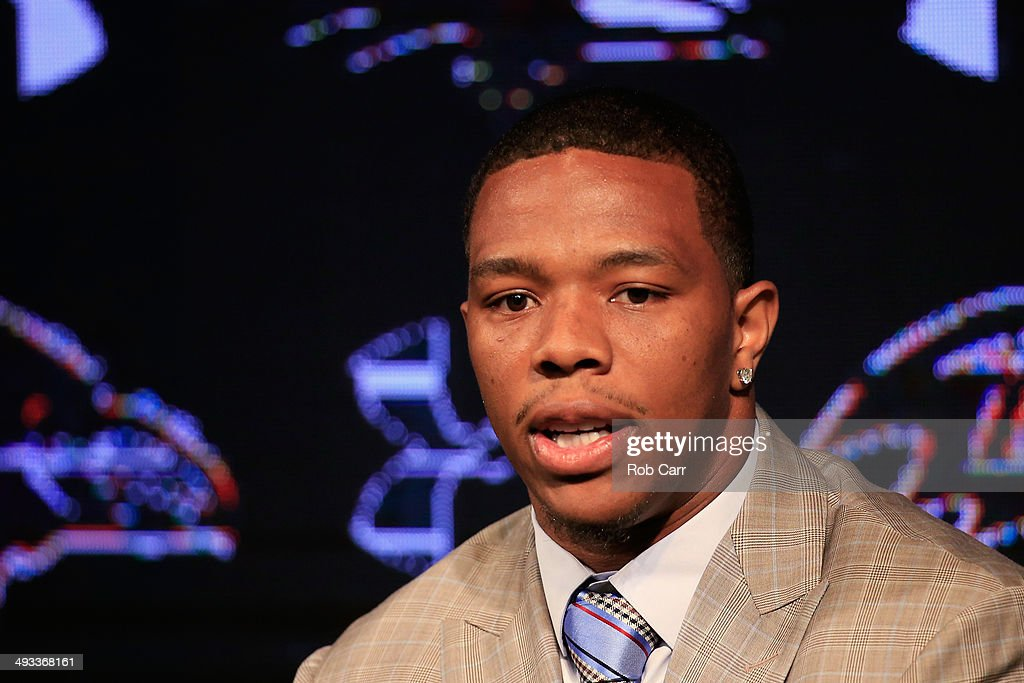 Running back <a gi-track='captionPersonalityLinkClicked' href=/galleries/search?phrase=Ray+Rice&family=editorial&specificpeople=3980395 ng-click='$event.stopPropagation()'>Ray Rice</a> of the Baltimore Ravens addresses a news conference with his wife Janay (not pictured) at the Ravens training center on May 23, 2014 in Owings Mills, Maryland. Rice spoke publicly for the first time since facing felony assault charges stemming from a February incident involving Janay at an Atlantic City casino.