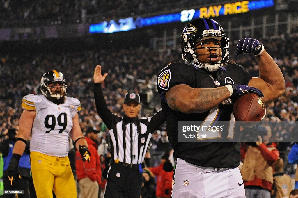 Running back <a gi-track='captionPersonalityLinkClicked' href=/galleries/search?phrase=Ray+Rice&family=editorial&specificpeople=3980395 ng-click='$event.stopPropagation()'>Ray Rice</a> #27 of the Baltimore Ravens celebrates a third quarter touchdown against the Pittsburgh Steelers at M&T Bank Stadium on December 2, 2012 in Baltimore, Maryland.
