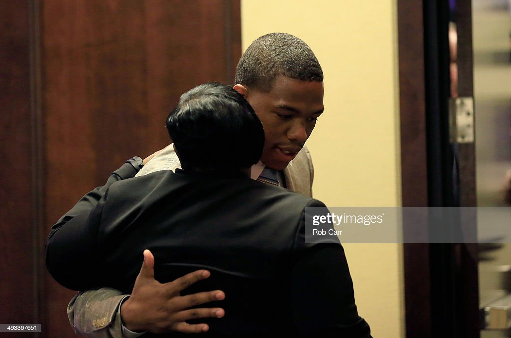 Running back <a gi-track='captionPersonalityLinkClicked' href=/galleries/search?phrase=Ray+Rice&family=editorial&specificpeople=3980395 ng-click='$event.stopPropagation()'>Ray Rice</a> of the Baltimore Ravens hugs his motherJanet Rice after addressing a news conference with his wife Janay (not pictured) at the Ravens training center on May 23, 2014 in Owings Mills, Maryland. Rice spoke publicly for the first time since facing felony assault charges stemming from a February incident involving Janay at an Atlantic City casino.