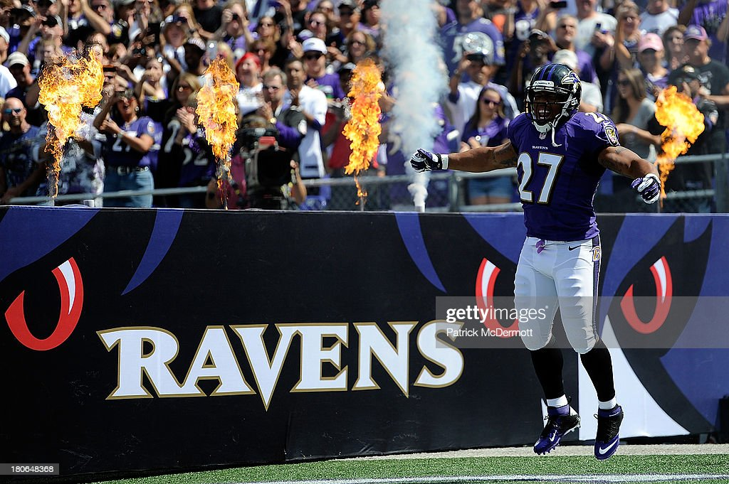 Running back <a gi-track='captionPersonalityLinkClicked' href=/galleries/search?phrase=Ray+Rice&family=editorial&specificpeople=3980395 ng-click='$event.stopPropagation()'>Ray Rice</a> #27 of the Baltimore Ravens is introduced before the start of the Ravens and Cleveland Browns game at M&T Bank Stadium on September 15, 2013 in Baltimore, Maryland.