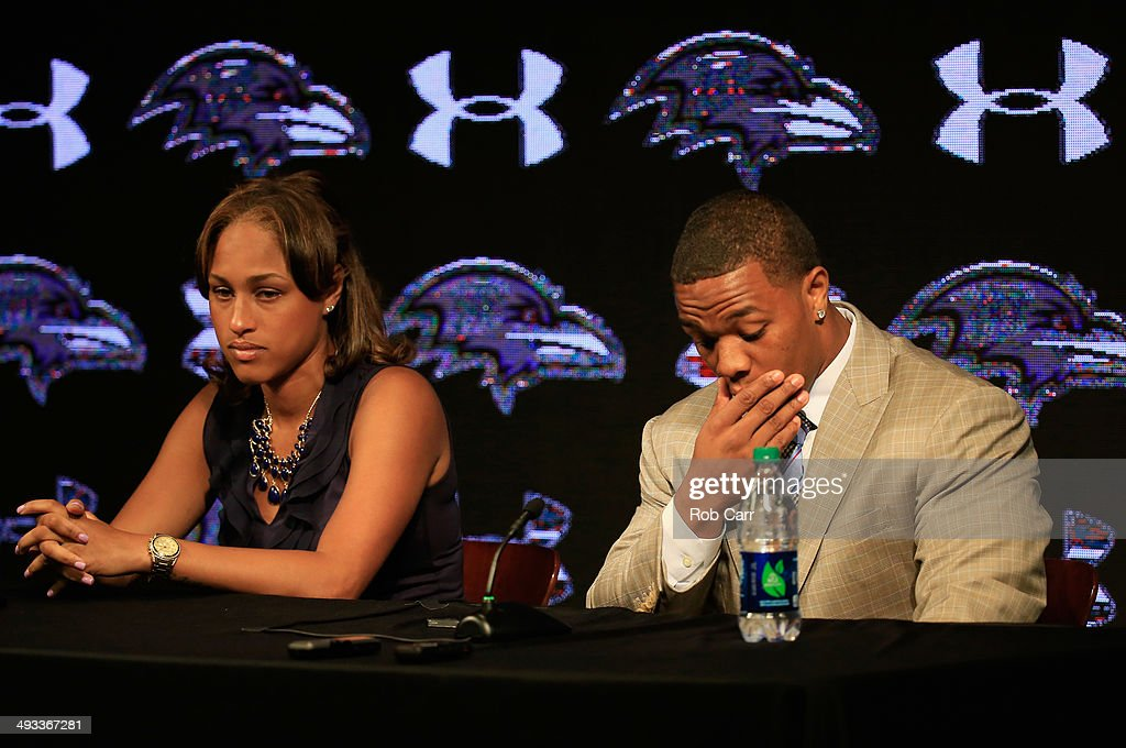 Running back <a gi-track='captionPersonalityLinkClicked' href=/galleries/search?phrase=Ray+Rice&family=editorial&specificpeople=3980395 ng-click='$event.stopPropagation()'>Ray Rice</a> of the Baltimore Ravens pauses while addressing a news conference with his wife Janay at the Ravens training center on May 23, 2014 in Owings Mills, Maryland. Rice spoke publicly for the first time since facing felony assault charges stemming from a February incident involving Janay at an Atlantic City casino.
