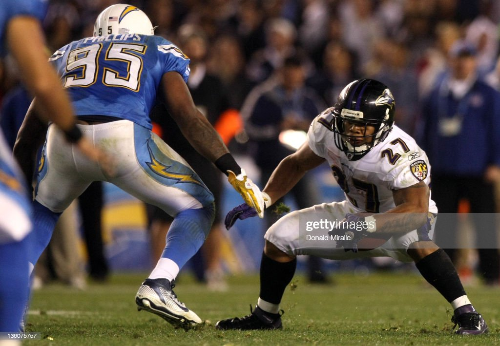 Running back <a gi-track='captionPersonalityLinkClicked' href=/galleries/search?phrase=Ray+Rice&family=editorial&specificpeople=3980395 ng-click='$event.stopPropagation()'>Ray Rice</a> #27 of the Baltimore Ravens runs against the San Diego Chargers during their NFL Game on December 18, 2011 at Qualcomm Stadium in San Diego, California.