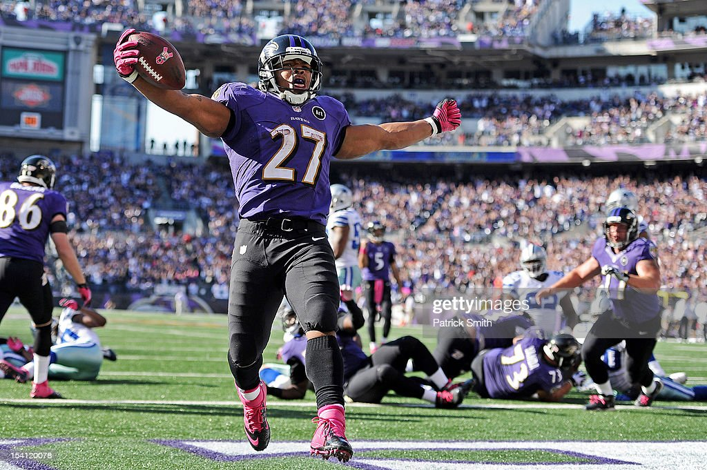 Running back <a gi-track='captionPersonalityLinkClicked' href=/galleries/search?phrase=Ray+Rice&family=editorial&specificpeople=3980395 ng-click='$event.stopPropagation()'>Ray Rice</a> #27 of the Baltimore Ravens scores a touchdown against the Dallas Cowboys in the fourth quarter at M&T Bank Stadium on October 14, 2012 in Baltimore, Maryland. The Baltimore Ravens won, 31-29.