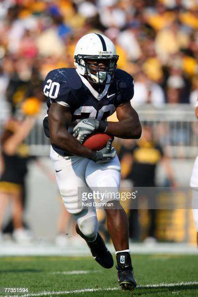 Running back Rodney Kinlaw of the Penn State Nittany Lions runs with the ball against the University of Iowa Hawkeyes at Beaver Stadium on October 6...