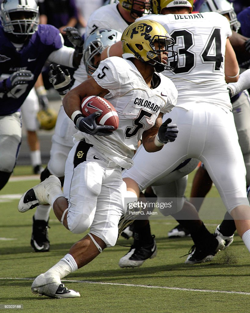 colorado v kansas state photos and images getty images running back rodney stewart 5 of the colorado buffaloes rushe around the end in the