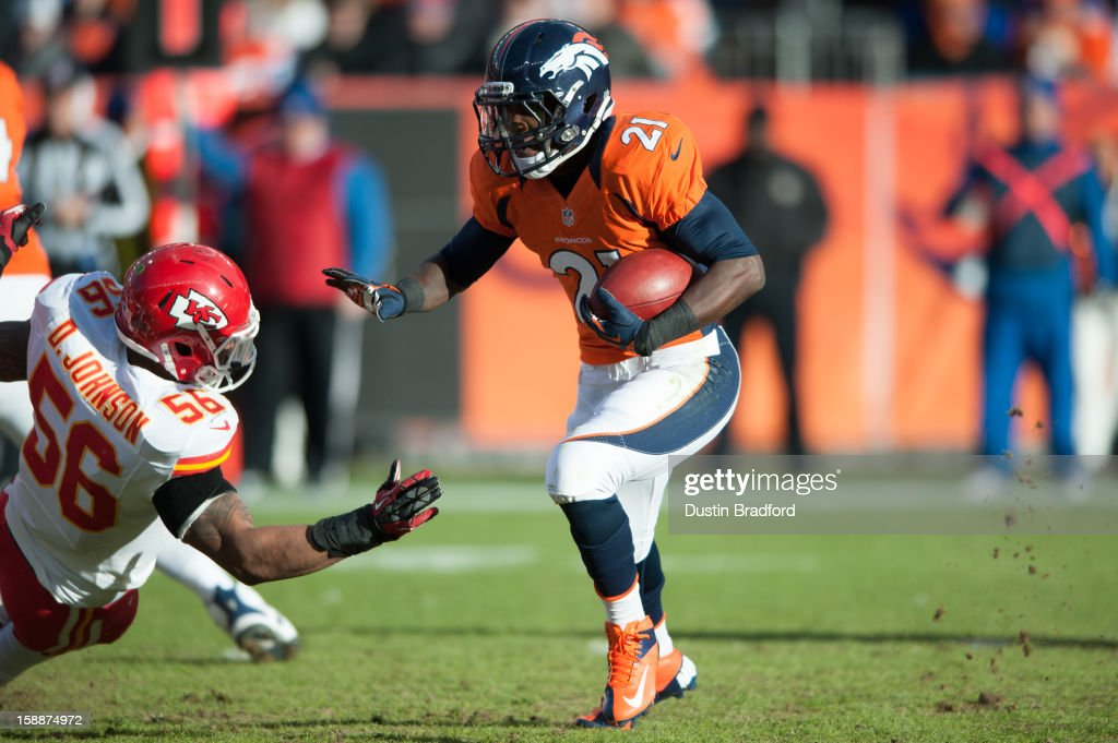 Running back Ronnie Hillman #21 of the Denver Broncos rushes against the Kansas City Chiefs during a game at Sports Authority Field at Mile High on December 30, 2012 in Denver, Colorado. The Broncos defeated the Chiefs 38-3.