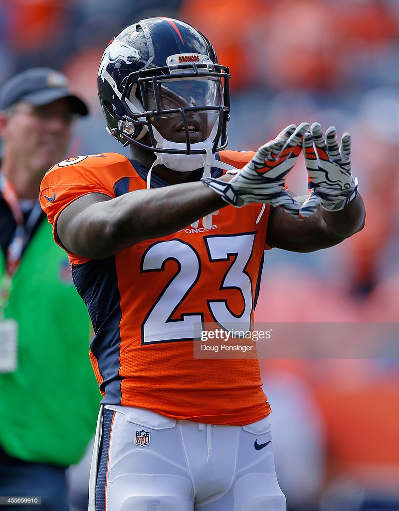 Running back <a gi-track='captionPersonalityLinkClicked' href=/galleries/search?phrase=Ronnie+Hillman&family=editorial&specificpeople=7355403 ng-click='$event.stopPropagation()'>Ronnie Hillman</a> #23 of the Denver Broncos warms up prior to facing the Kansas City Chiefs at Sports Authority Field at Mile High on September 14, 2014 in Denver, Colorado. The Broncos defeated the Chiefs 24-17.
