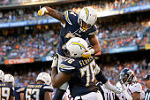 Running back Ryan Mathews of the San Diego Chargers celebrates his touchdown with offensive tackle DJ Fluker in the 4th quarter at Qualcomm Stadium...