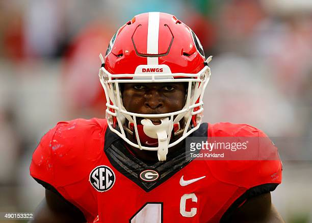 running back Sony Michel of the Georgia Bulldogs reacts after scoring a touchdown in the third quarter of the game against the Southern University...