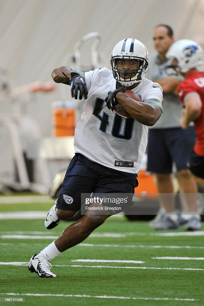 Running back Stefphon Jefferson #40 of the Tennessee Titans attends rookie camp on May 10, 2013 in Nashville, Tennessee.