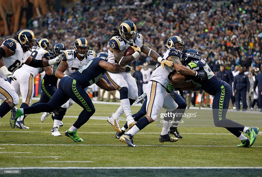 Running back Steven Jackson #39 of the St. Louis Rams is stopped short of the goal line against the Seattle Seahawks at CenturyLink Field on December 30, 2012 in Seattle, Washington. The Seahawks defeated the Rams 20-13.