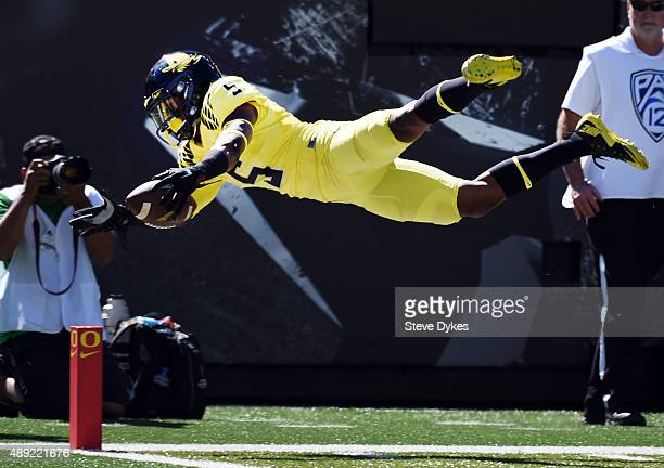 Running back Taj Griffin of the Oregon Ducks tries to dive into the end zone during the game against the Georgia State Panthers at Autzen Stadium on...