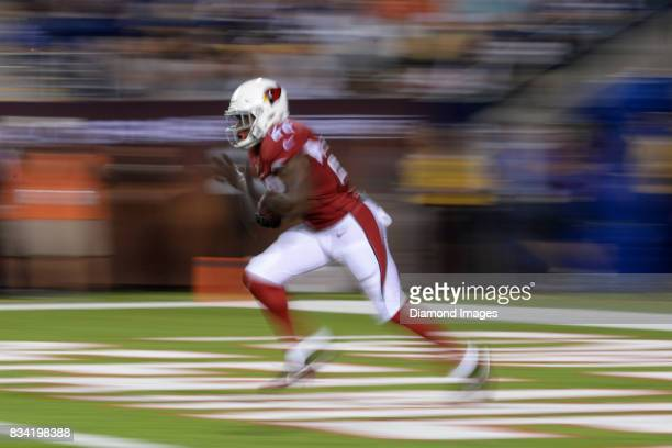 Running back TJ Logan of the Arizona Cardinals returns a kickoff in the fourth quarter of the 2017 Pro Football Hall of Fame Game on August 3 2017...