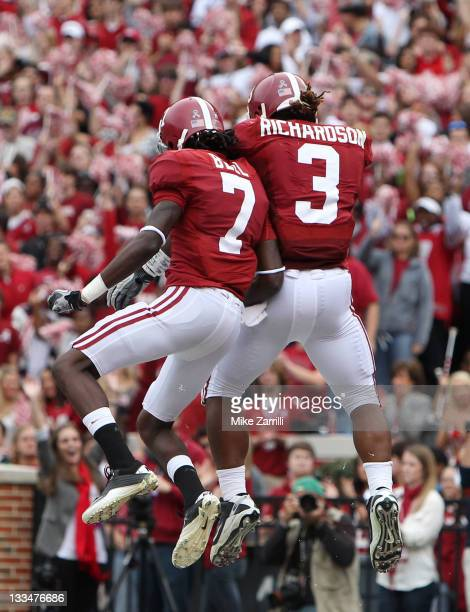 Running back Trent Richardson of the Alabama Crimson Tide celebrates with wide receiver and teammate Kenny Bell after Richardson's first half...