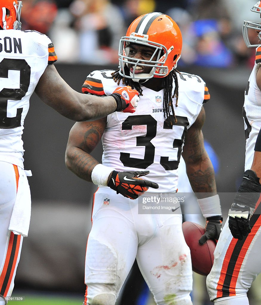 Running back Trent Richardson #33 of the Cleveland Browns celebrates after scoring a touchdown during a game with the Buffalo Bills at Cleveland Browns Stadium in Cleveland, Ohio. The Bill won 24-14.